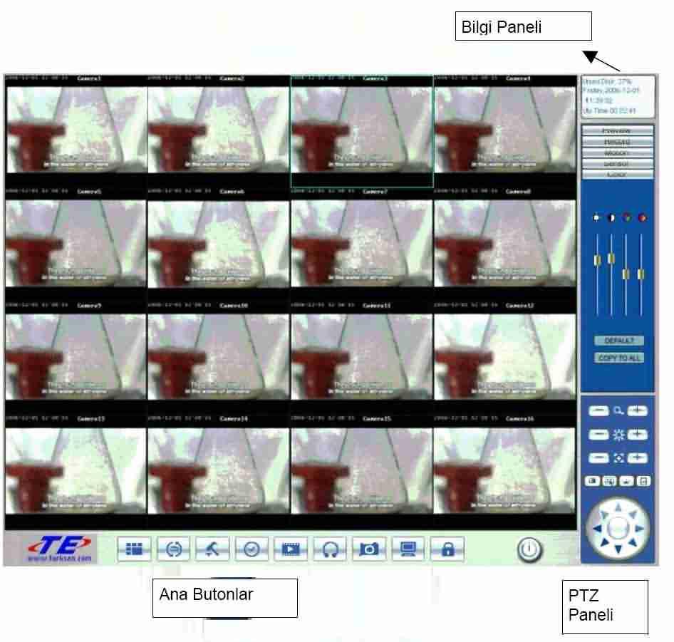 Cctv sistemleri hakkında bilgi : Dvr programı ana ekran resimli açıklama