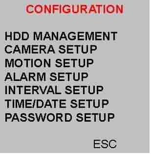 Mhpeg kayıt cihazında configuration menüsündeki ayarlar