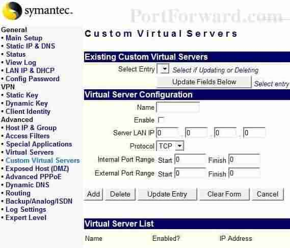 Symantec port ayarı