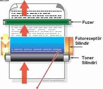 Lazer yazici fuser
